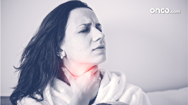 Photograph of a female throat cancer patient experiencing pain