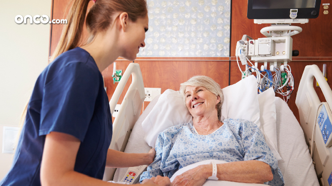 Photograph of a patient receiving chemotherapy