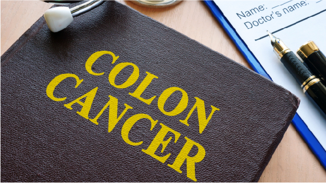 Picture of a book with Colon Cancer written on it