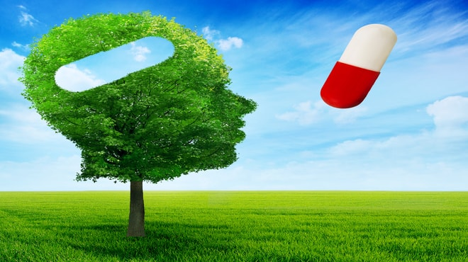 Visualisation of a tree in the shape of a human and a pill on the right side