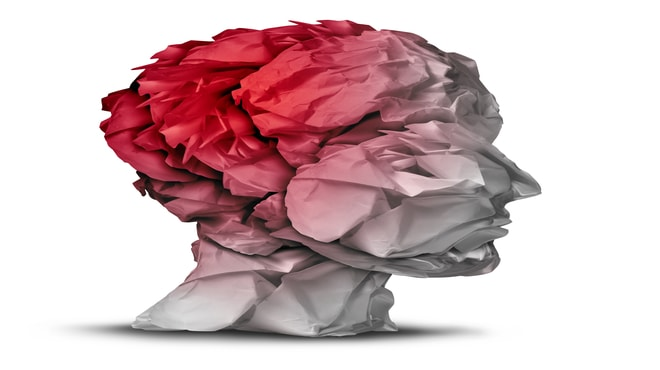 Visualisation of a human head while brain cancer is highlighted in red